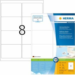 HERMA Self Adhesive Address Labels, 8 Labels Per A4 Sheet, 800 Labels