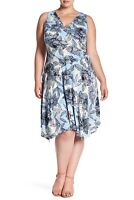 London Times 156410 Women's Filigree Bloom Ruched Dress Plus Size Blue Sz. 2X US