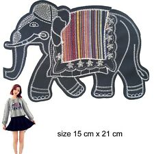 Big Sew on Elephant Patch - elephants colourful ethnic animal embroidery patches