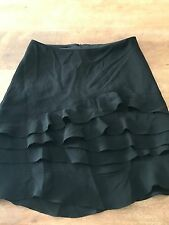 REVIEW WOMENS DESIGNER Tiered SKIRT BLACK FULLY LINED WORK PARTY SHORT SZ 6
