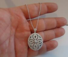 925 STERLING SILVER LOCKET CROSS PENDANT NECKLACE W/ ACCENTS / SIZE 35MM BY 25MM