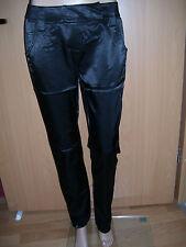 Damen Satin Look Hose Stretch schwarz seidig glänzend gerades Bein 36 38 L34 neu
