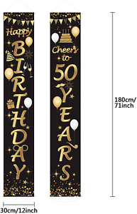 2 PIECE 50TH BIRTHDAY PARTY DECORATION CHEERS TO 50 YEARS BANNER FREE POSTAGE