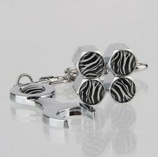 Zebra Stripes Car Air Wheel Tyre Valve Dust Caps Covers Spanner Keying 4