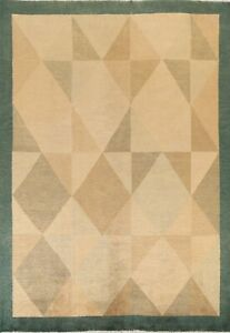 Transitional Geometric Nepalese Oriental Area Rug Hand-knotted Wool 8x10 Carpet