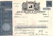 Stock certificate John Blair & Company State of Delaware More Than 100 shares