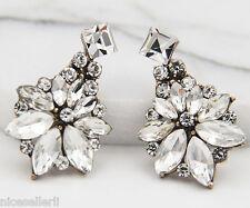 Stud Ancient Silver long Earrings 283 Boho Fashion White Crystal Ear Drop Dangle