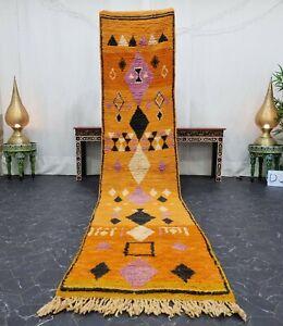 "Moroccan Boujaad Handmade Runner 2'5""x11'7"" Berber Geometric Orange Black Carpet"