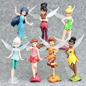 "7Pcs Disney Tinker Bell Fairies Princess 4"" Action Figure Model Toys Cake Topper"