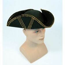 TRICORN PIRATE HAT WITH PATTERN & TRIM - mens womens fancy dress accessory