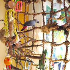 New listing Parrot Bird Toy Climbing Rope Net Jungle Fever Rope Swing Ladder Step Hammock Us