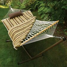 ALGOMA Cotton Rope Hammock, Stand, Pad & Pillow Combination 8911E New