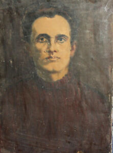 1987 Impressionist man portrait oil painting signed
