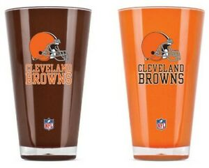 CLEVELAND BROWNS 2 PIECE 20 OZ. ACRYLIC PINT GLASS SET PACKAGED NFL LICENSED