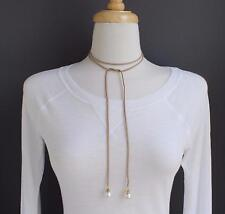 "Brown choker wrap necklace faux suede 48"" long tie bow choker skinny faux pearl"