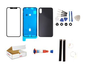 Screen Repair Kit Compatible iPhone X Front Black Back Glass Lens Replacement