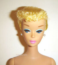 Nude Barbie Doll Blonde Hair Poodle Bangs/Ponytail Vintage Repro vn53