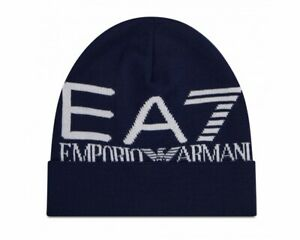 Emporio Armani 274903 Oversize Logo Men's EA7 Beanie Hat Blue