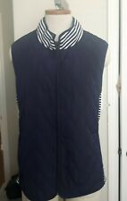 New Old Stock TALBOTS QUILTED vest navy white stretch stripe sides ladies XL