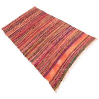 INDIAN 3'x5' FEET COTTON HANDMADE RAG RUG MULTI THROW WOOVEN DARI VINTAGE CHINDI