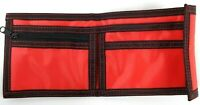 Tri-Fold Nylon Kids Boys Wallet Purse Red With Black Trim, Loop and Hook Closure