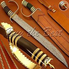 BEAUTIFUL CUSTOM HAND MADE DAMASCUS STEEL HUNTING SWORD KNIFE / BULL HORN HANDLE