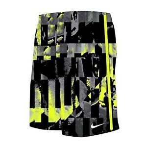 "NWT NIKE Mirage 9"" Boys E-Board Swim Trunks Black/Grey/Volt Size M (9-11)"