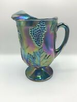 Vintage Indiana Carnival Glass Pitcher Blue Harvest Grape Iridescent Footed