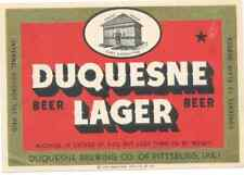 Duquesne Lager Irtp Beer Label