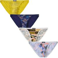 4 Pack Mens Thongs Bikini Sexy Printed Underwear Briefs Jockstrap Swimwear