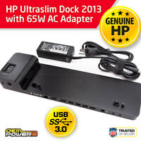 HP UltraSlim Dock 2013 ProBook EliteBook Laptop Docking Station + 65W AC Adapter