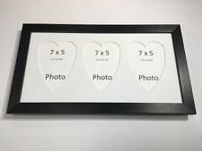 Multi Heart Photo Frame Black-Holds 3 x 7''X5'' Choose from 4 mount colours