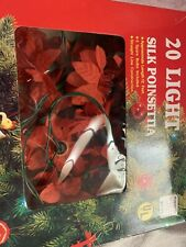 Vintage Silk Poinsettia Christmas Light Set 20 Lights Org. Box