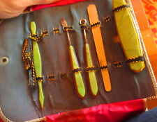 5 pc Antique Leather  Nail File Travel Grooming Kit Celluloid Green Bakelite