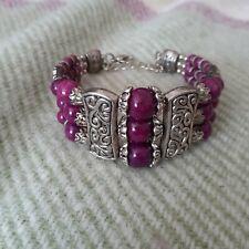 Women-girls- mans -Tibetan 925 Silver Charm Bracelet-Purple Bead - New