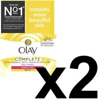 2 Olay 3In1 Day Cream Normal Dry Moisturiser SPF15 Essentials Complete Care 50ml
