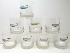 8 Whale Whiskey Old Fashioned Round Unique Barware Decor Drinking Rocks Glasses