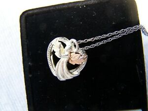 Black Hills Gold Necklace Angel In Heart Pendant 12K Gold & Sterling Silver