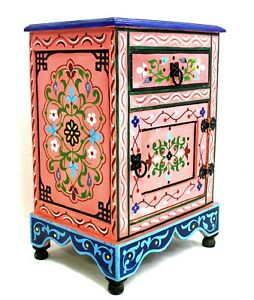 Moroccan Nightstand Table Pink Painted Handmade Authentic Accent Piece Decor