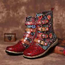 Women Retro Floral Biker Ankle Boots PU Leather Zipper Shoes Buckle Combat H5D9