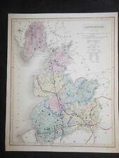Hand Coloured LANCASHIRE Map (1835) Liverpool, Manchester, Preston, J & C WALKER