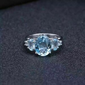6Ct Oval Cut Sky Blue Topaz Syn Diamond 3 Stone Ring Size P White Gold FN Silver