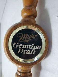 Miller Genuine Draft Beer Tri Tap Handle Brewery Wood Stained MGD