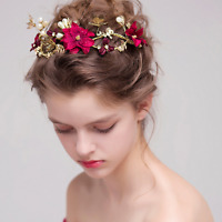 Bridal Wedding Party Red Silk Flower Pearl Gold Butterfly Headband Hair Band