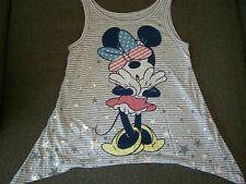 Disney Girls XS 4-5 Minnie Mouse Tank Top Flag USA STARS STRIPES Gray Asymmetric