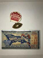 1951 NCAA SUGAR BOWL TICKET STUB & BOOSTER PIN KENTUCKY UPSETS OKLAHOMA SOONERS