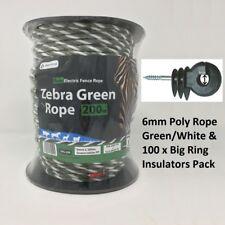 6 mm clôture électrique Corde Zebra Vert & Blanc 200 M & 100 Grand Anneau Isolateurs