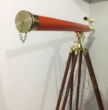 Double-Barrel-Lens-Sun-Telescope-with-Stand-Wood-Tripod-Standing-house-decorativ