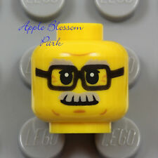 NEW Lego Male MINIFIG HEAD -Black Rimmed Eye Glasses Grandpa Gray Moustache Hair