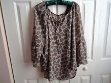 Women Top Blouse Beige Brown Color  w/ Designs Long Sleeve